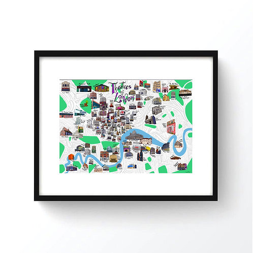 Theatres of London Map Print
