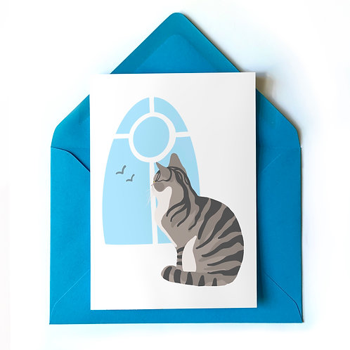 Grey Tabby Cat at the Window Card