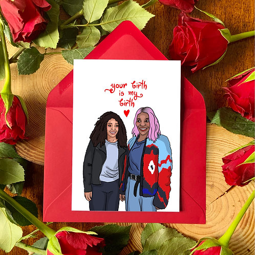 Arabella and Terry from 'I May Destroy You' Galentine's Day Card