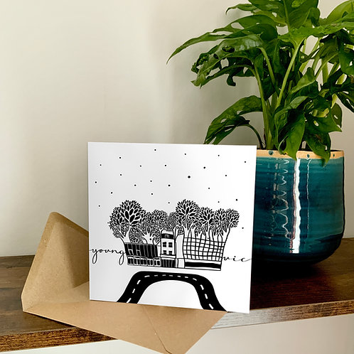 Young Vic Theatre Abstract Architecture Treetop Card