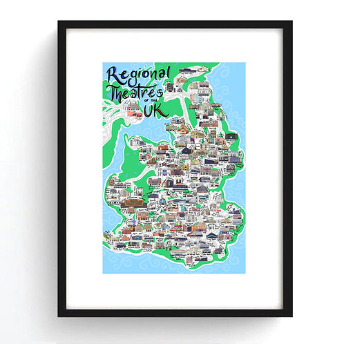 Regional Theatres of the UK Map Print