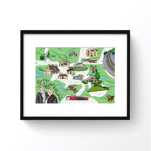 Map of Kerry and Kurtan's Cotswolds from 'This Country' Print