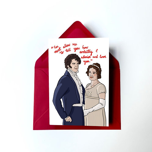 Mr Darcy and Elizabeth Bennet from 'Pride and Prejudice' BBC Anniversary Card