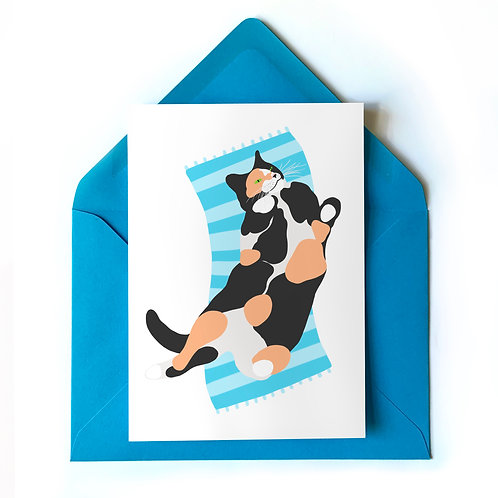Rolling Calico Cat Card