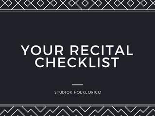 YOUR RECITAL CHECKLIST