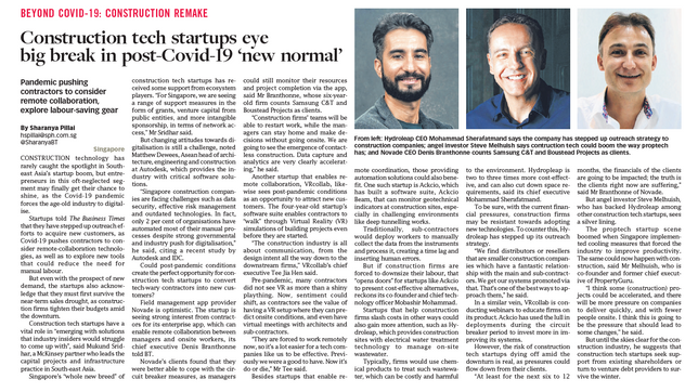 CONSTRUCTION REMAKE Construction tech startups eye big break in post-Covid-19 'new normal'
