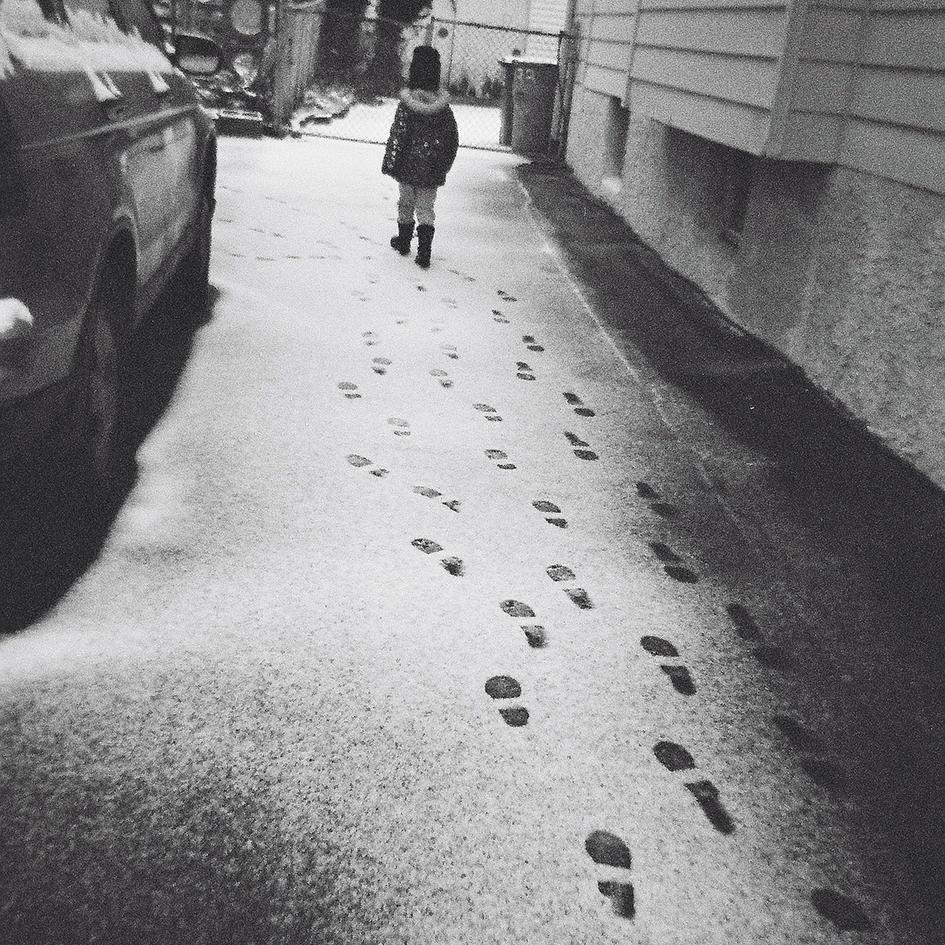 In her footprints