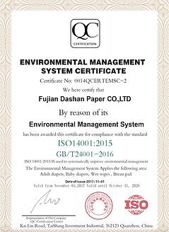 ISO14001 Fujian Dashan Paper.png