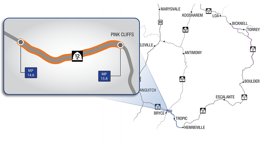Map showing in detail the scope and location of the S.R. 12; Passing Lane Connection project