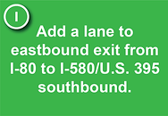 1. Add a lane to eastbound exit from I-80 to I-580/U.S. 395 southbound.