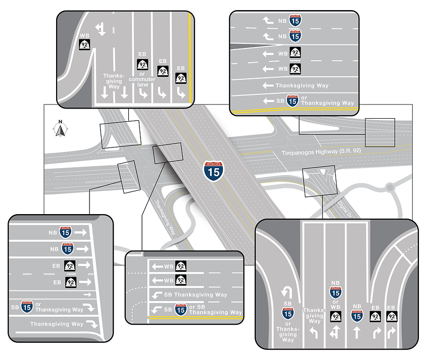 Timpanogos Highway (S.R. 92) detailed final lane cnfiguration map.