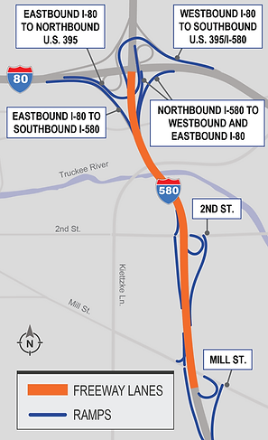 Map depicting location of on and off-ramps affected by the project