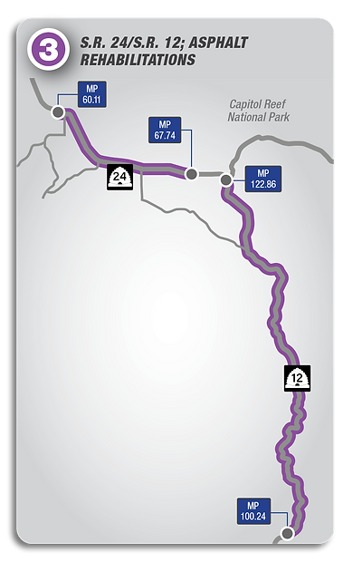 Map showing the scope of the SR-24/SR-12; Asphalt Rehabilitations project