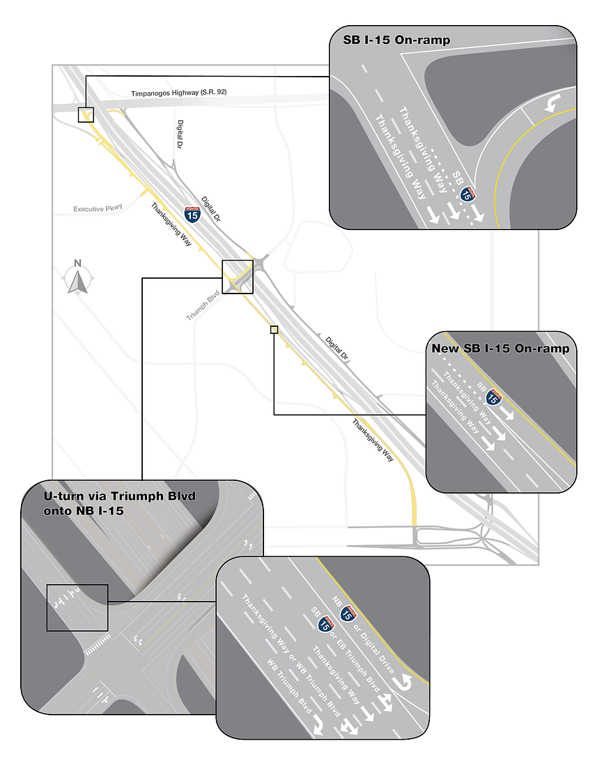 Southbound frontage road detailed final lane configuration map