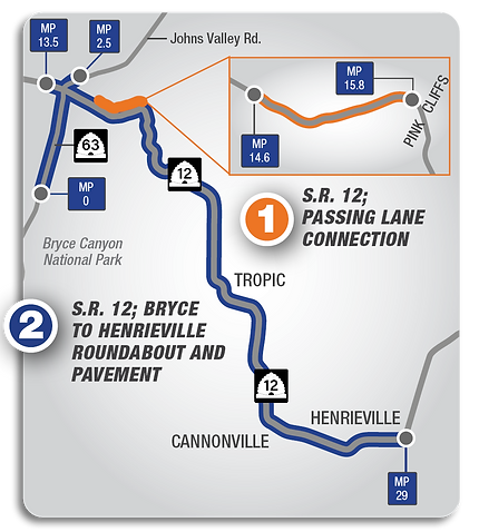 Map showing project scope for SR-12; Bryce to Henrieville round about & Pavement; And Passing Lane Connection