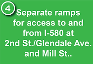 4. Separate ramps for access to and from I-580 at  2nd St./Glendale Ave. and Mill St..