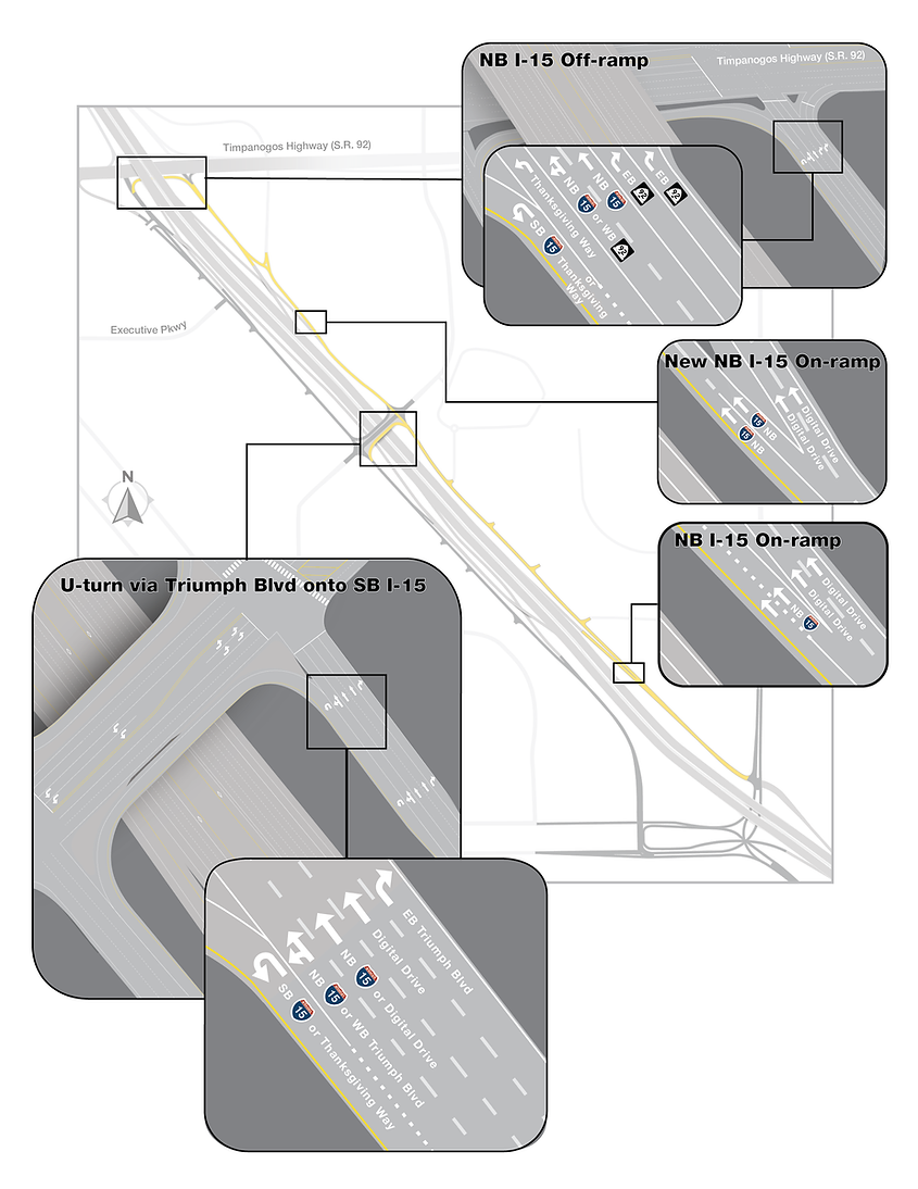 Northbound frontage roads detailed final lane configuration map