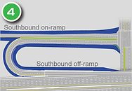 Separate ramps for access to and from I-580 at  2nd St./Glendale Ave. and Mill St..