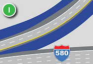 Add a lane to eastbound exit from I-80 to I-580/U.S. 395 southbound.