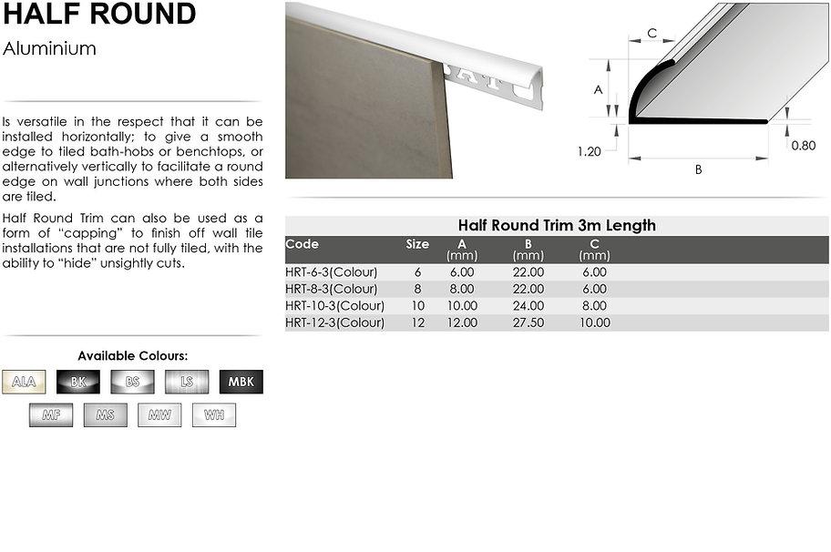 Aluminium Half Round Trim