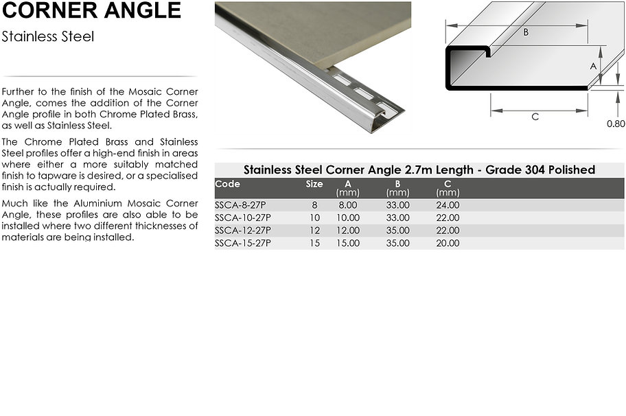Stainless Steel Corner Angle