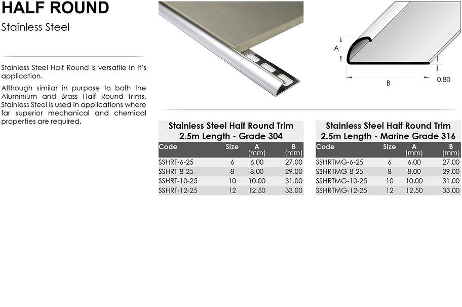 Stainless Steel Half Round Trim