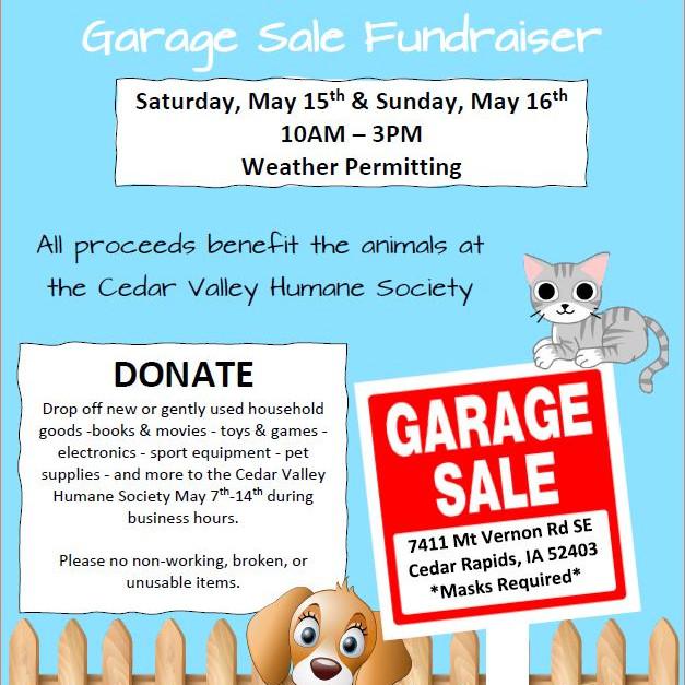 Cedar Valley Humane Society Garage Sale Fundraiser