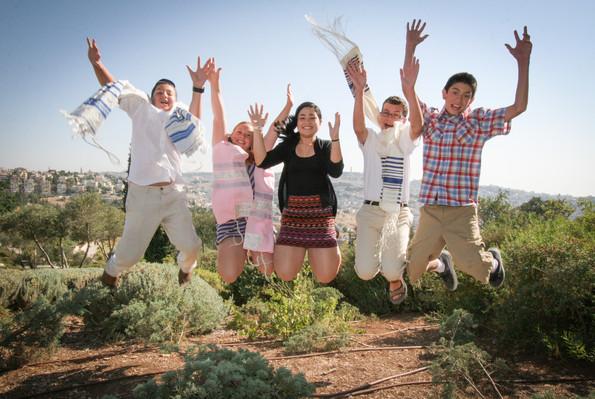 Bnai Mitzvah kids jump for joy