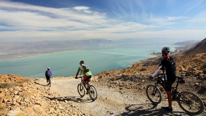 Biking toward the Dead Sea
