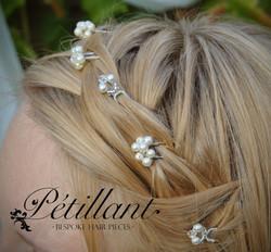Small pearl and crystal pins