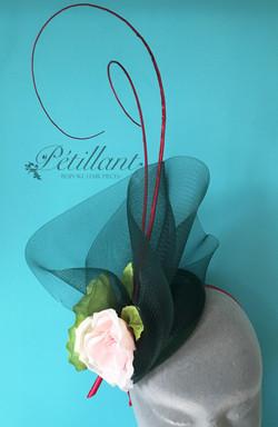 Green and pink crinoline fascinator