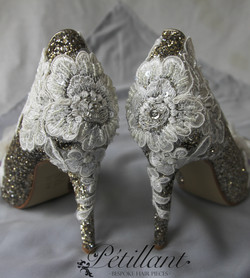 Glitter shoes with lace