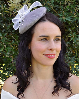Bespoke button fascinator in ivory and lilac by Pétillant