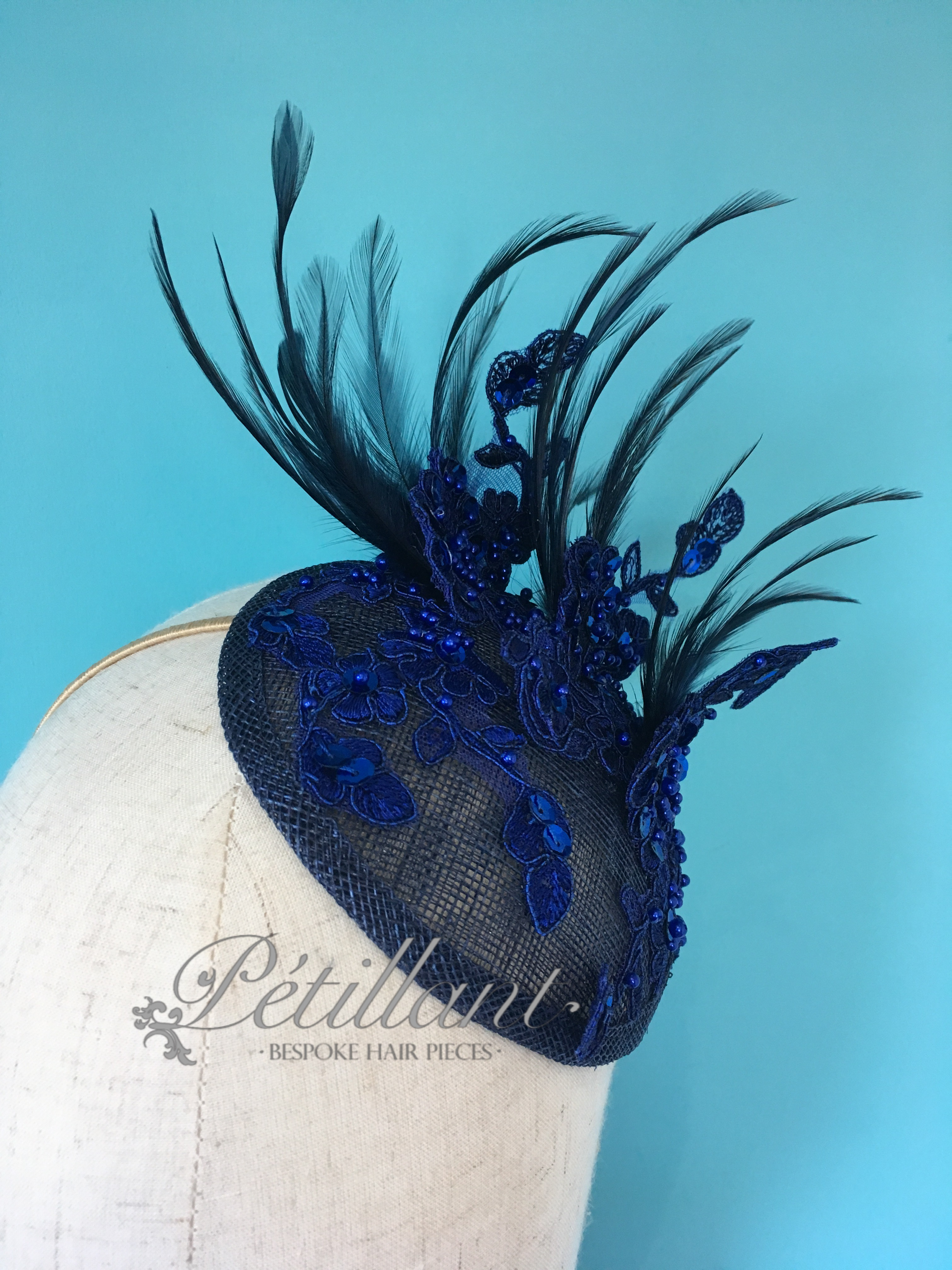 Blue lace fascinator