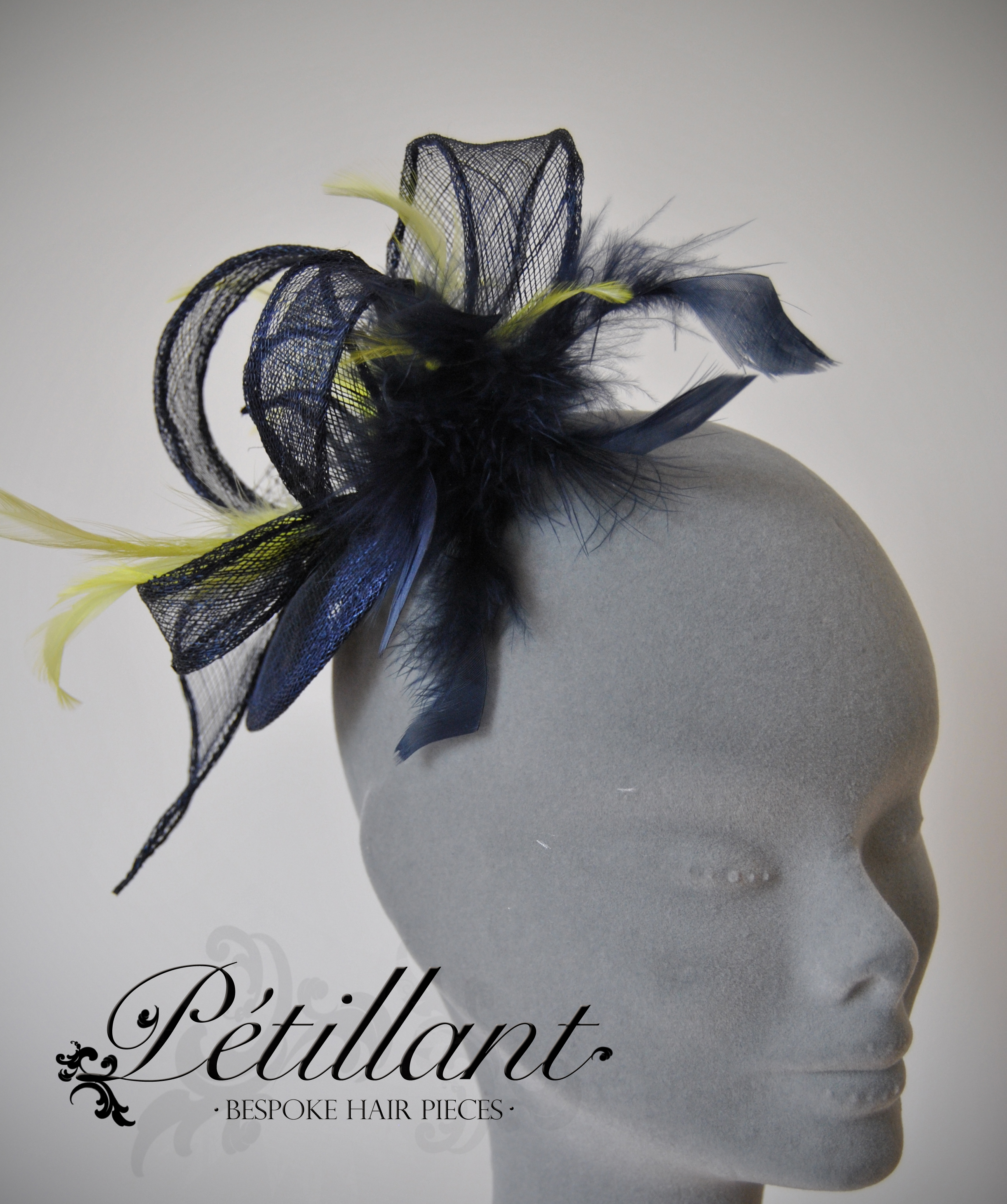 Navy and lime fascinator