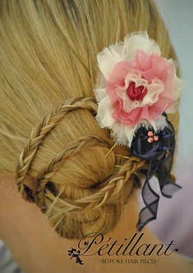 Pink, navy and white flower clip