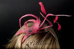 Pink & grey fascinator