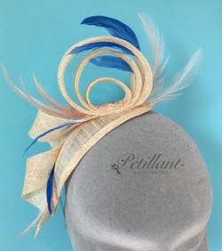 Cream, blush & blue loop fascinator
