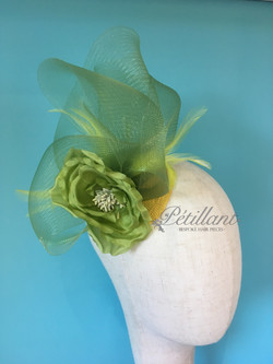 Lime spring crinoline fascinator