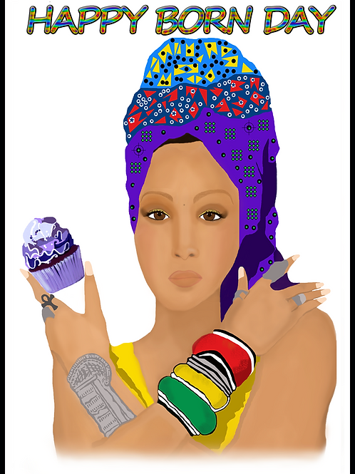 Erykah Badu Born Day Card