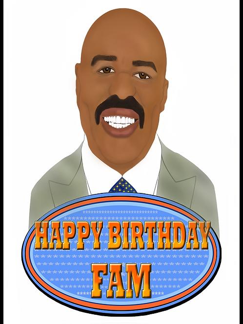 Steve Harvey Happy Birthday Fam Card