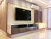 Papel parede, Painel TV e Pedrailuminada no móvel da TV