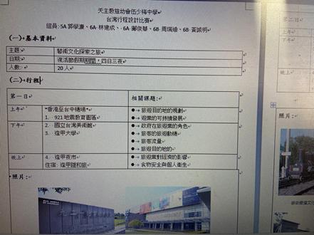 小組活動: 四日三夜台灣行程設計