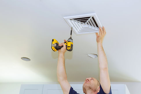 Man installing of HVAC, heating ventilat
