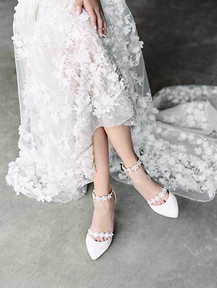 Olivia - Light Ivory - Luxe Silk Heel with Jeweled Straps