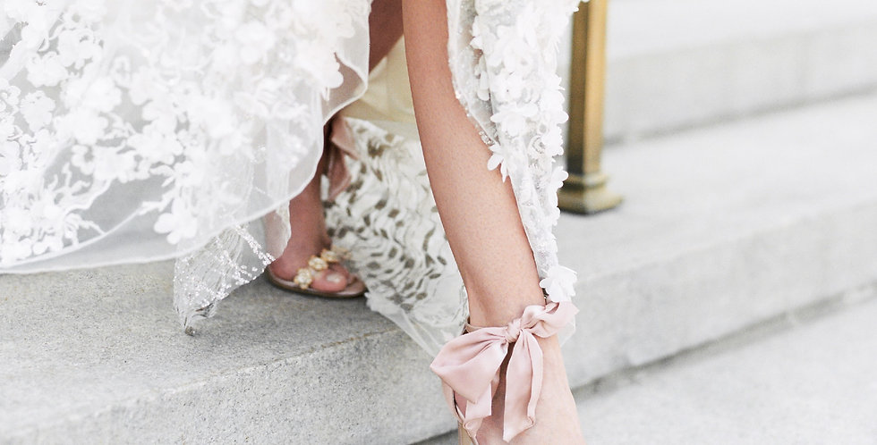 Mariée - Luxe Silk Heel with Silk Bow Strap