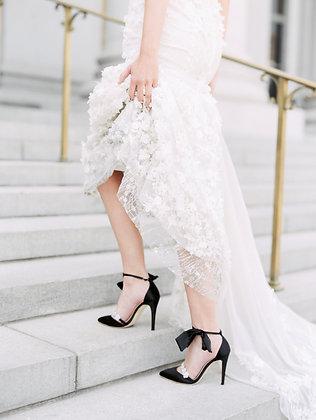 Olivia - Noir - Luxe Silk Heel with Silk Bow Strap (Wholesale)