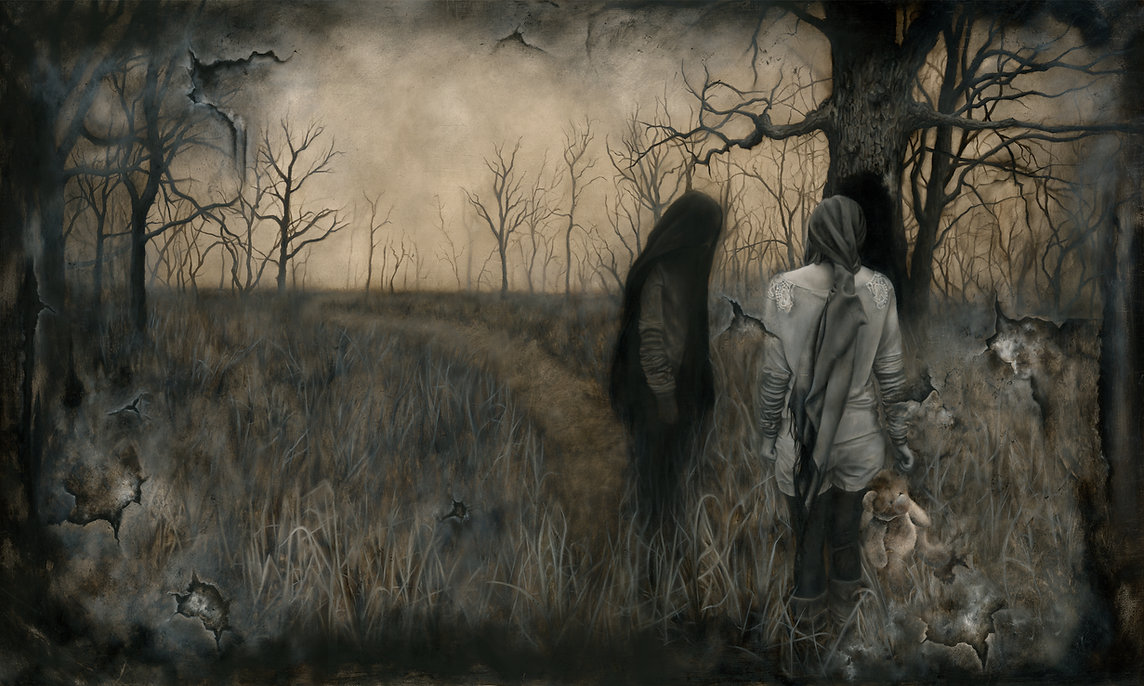girl walking in a creepy forest