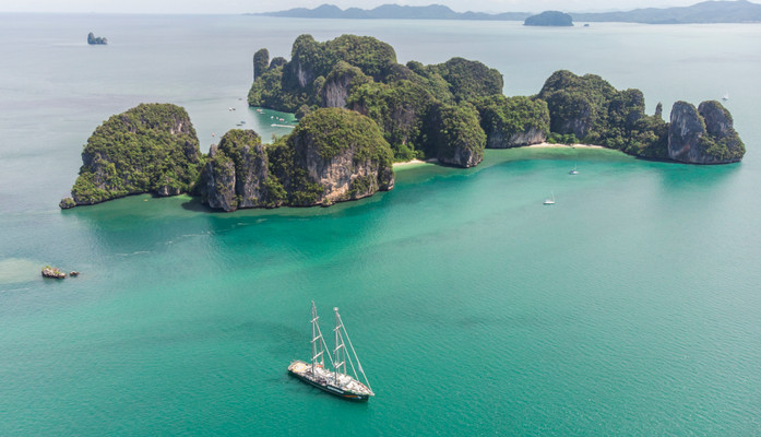 Greenpeace's Rainbow Warrior in South Thailand.