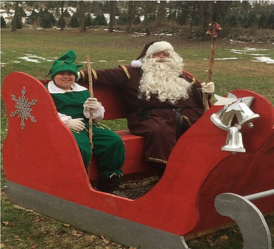santa in sleigh with jingle shale hills